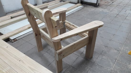 garden chair with most pieces fitted