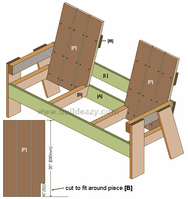 the back slats on a two seater bench with middle table made from 1x6 lumber