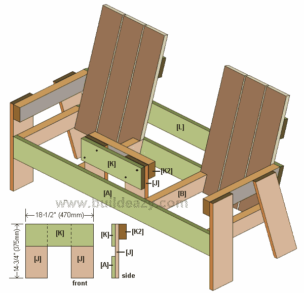 the table frame of a two seater bench with middle table made from 1x6 lumber
